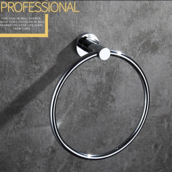 China Wall Mounted Round Style Brass Towel Ring Chrome Finish 6309