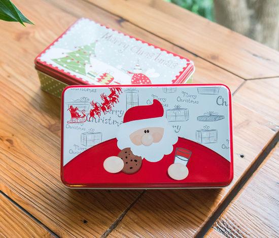China Christmas Santa Claus Rectangular Candy Biscuits Cake Tin Box