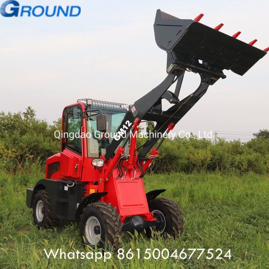 Durable Diesel Engine 1.2ton mini front end wheel loader with 0.6m3 bucket with CE
