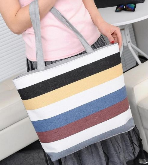 Summer Canvas Shopper Bag Striped Rainbow Prints Beach Bags Tote Women Ladies Girls Shoulder Bag Casual Shopping Handbag Bolsa pictures & photos