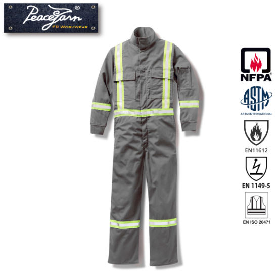 Fire Retardant Reflective Coverall with Reflective Trim for En11611 Standard