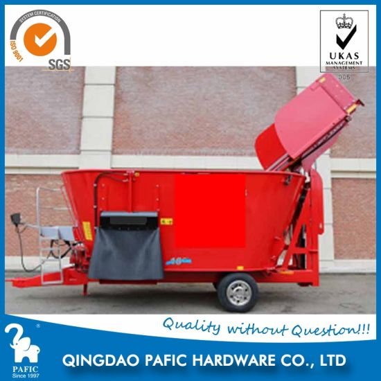 Dairy Feeding Equipment Tmr Mixer Wagon with Lifting Scoop Device pictures & photos