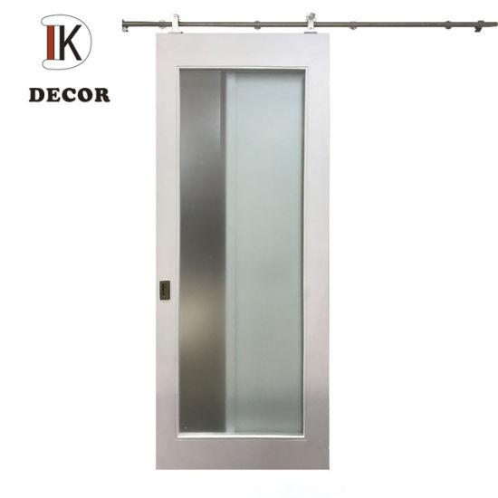 White Primer Barn Door with Glass