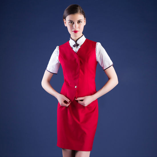 f5d2100c2cf China Formal Airline Stewardess Uniform Red Air Hostess Costume for ...