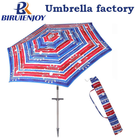 Outdoor Windproof Aluminum Silver Coating Polyester Patio Beach Umbrella Upf 50+ with Sands Anchor