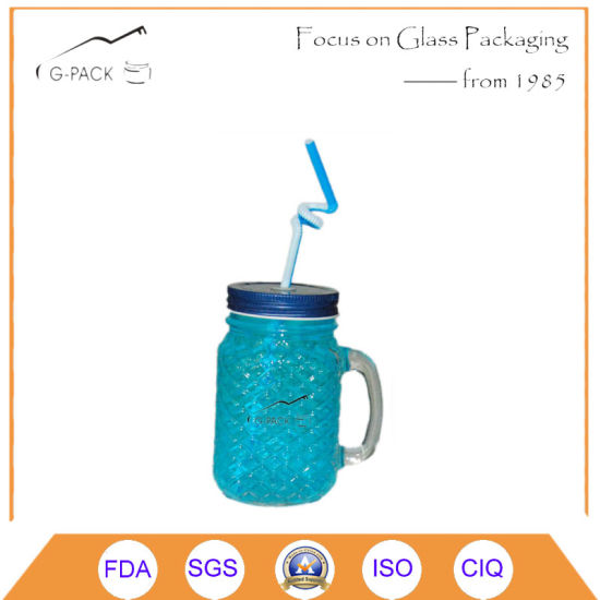 Mason Jar Drinking Glass with Lid/Glass Drinking Jar