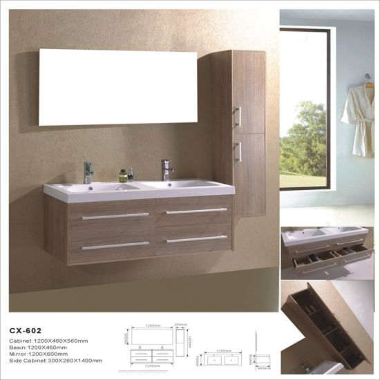 China Double Sink Wall Mounted Pvc Bathroom Vanity With Side Cabinet