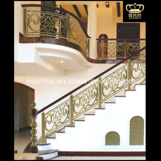 Luxury Indoor Stairs Aluminum Brass Railing For Villa