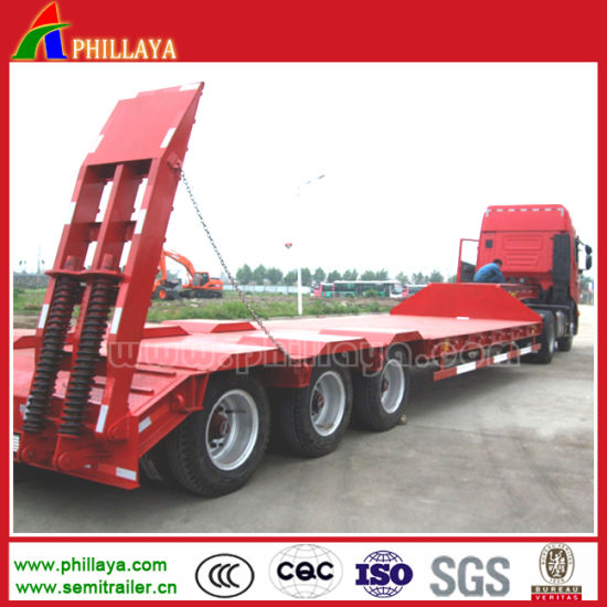 Hydraulic Rear Ramp Construction Machinery Transporting Low Bed Trailer pictures & photos