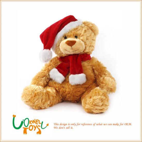 Plush Toy Santa Bear for Christmas Gift Teddy Bear with Santa Cloth