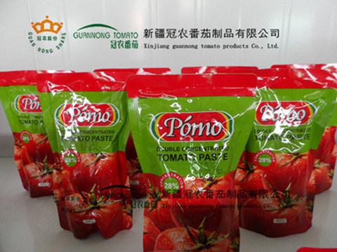 Tomato Paste in Sachet 70g, 400g, 850g, 1.1kg, Brix28-30%, China, Guannong, Xinjiang