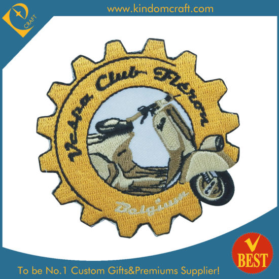 Novelty Custom Gear Shape Motorcycle Embroidery Patch Badge for Promotion