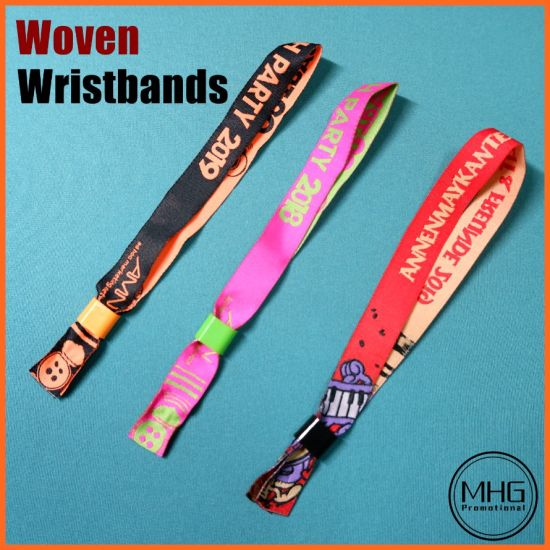 Disposable Fabric Polyester Woven Wristband with Serial Number Plastic RFID Tags RFID Wrist Band