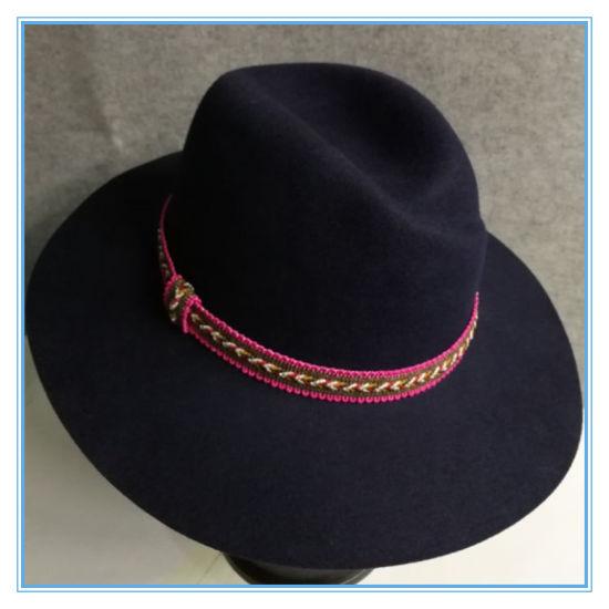 fd56699bf0d9b China Fashion Wool Felt Fedora Trilby Lady Hat with Pink Ribbon ...