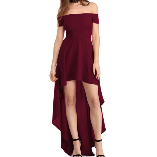 Sexy Red High Low Hem off Shoulder Party Cocktail Dress pictures & photos
