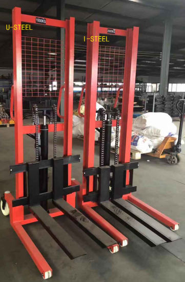 1t 2t 3t Hydraulic Manually Stacker with Ce Certificate