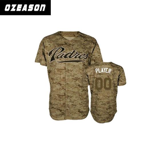 China Supplier Custom Cheap Digital Printing Camo Baseball Jersey (B018)