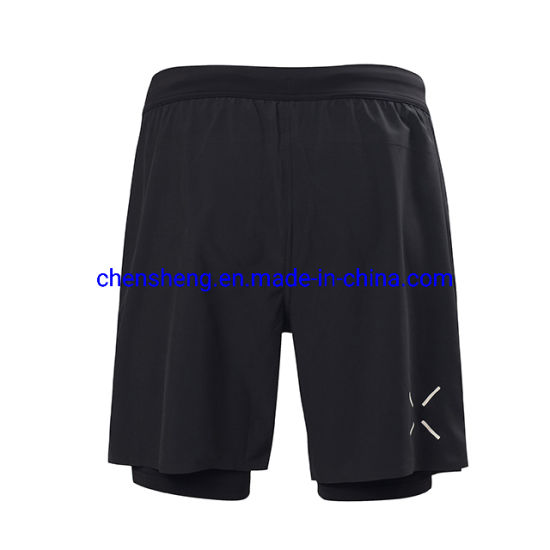 Men Active Training Running Sports Fitness Gym Mesh Shorts 2 in 1