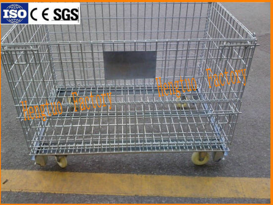 Folding Warehouse Logistic Trolley Roll Wire Mesh Storage Box & China Folding Warehouse Logistic Trolley Roll Wire Mesh Storage Box ...