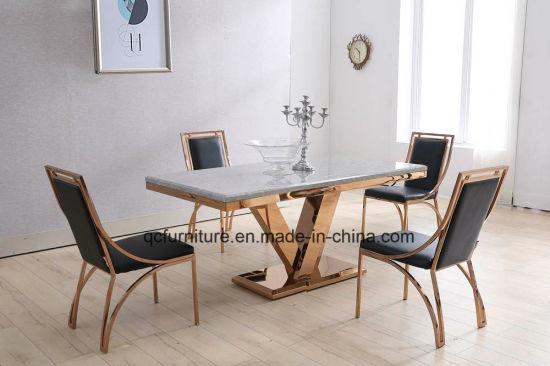 2017 Royal Design Marble Rose Golden Stainless Steel Dining Table Set