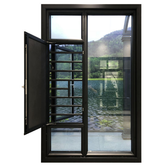 Tempered Glass Aluminium Doors and Windows Casement Windows Hurricane Impact Windows with Ss Mosquito Screen