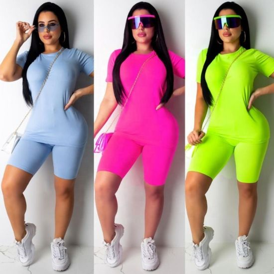 Factory Customize Female Quick Dry Sexy Stretch Sport T Shirt and Short Pants Suit Close-Fitting Jogging Yoga Fitness Summer Short Sleeves Logo Printing