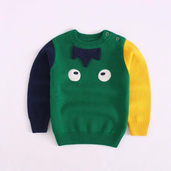 Baby Clothes Carton Series Color Block Knitwear Baby Sweater