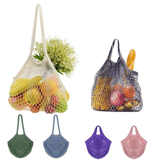 Promotional Eco Organic Reusable Washable Cotton Mesh Shopping Tote Bag