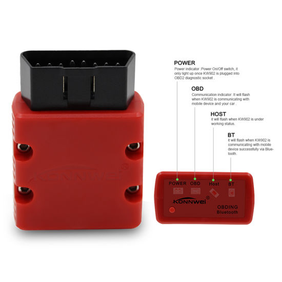 Konnwei Kw902 Bluetooth Red Color Obd Ii Obd2 Scanner Auto Fault Detector Diagnostic Tool