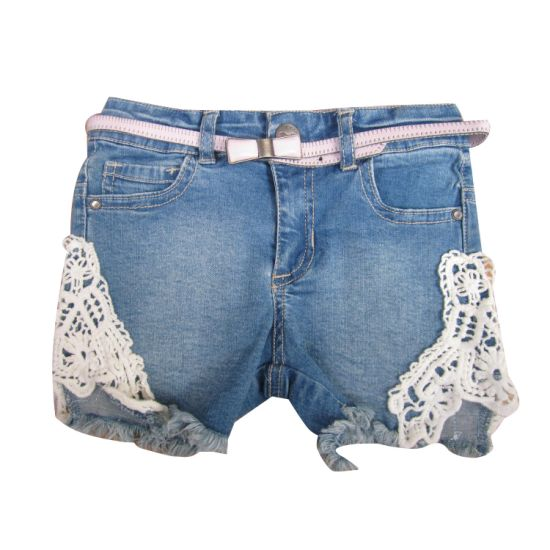 Kid Trousers Girl Denim Short with Patched Lace and Belt