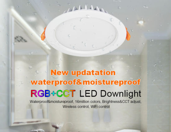 IP54 Waterproof u0026 Moistureproof 15W RGB+CCT LED Downlight Used for Bathroom Lighting & China IP54 Waterproof u0026 Moistureproof 15W RGB+CCT LED Downlight Used ...