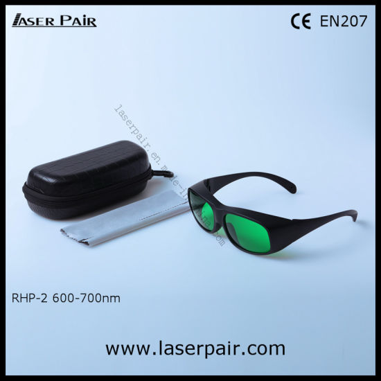 30% Transmittance of Laser Safety Goggles & Safety Lenses for Red Lasers, Ruby (RHP-2 600-700nm) with Black Frame 33 for Red Light Therapy Machine pictures & photos