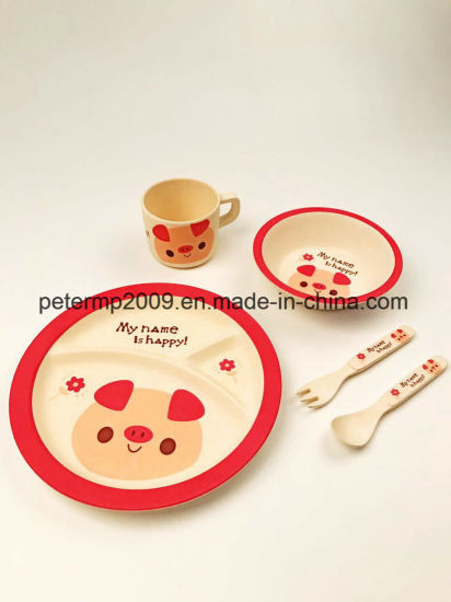 Great Brand Children Dinnerware 5PCS Bamboo Fiber Baby Feeding Tableware Set Eco Plate Set for Kids pictures & photos