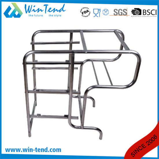 Round Tube Cleaning Clearing Bent Legs Garbage Trolley with Bin and Basket pictures & photos
