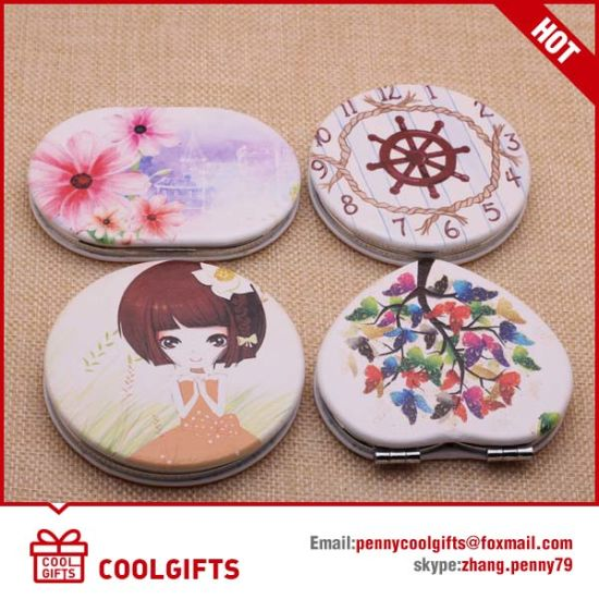 Oval Promotional PU Leather Compact Makeup Folding Mirror for Gift pictures & photos