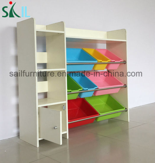 Wooden Kids Toy Storage Cabinets for Home and Kindergarten
