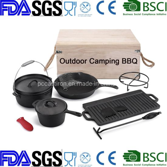 11PCS Cast Iron Cookware Set for Outdoor Camping Dutch Oven
