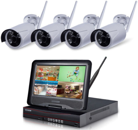 4CH NVR Kit 720p 1.0MP Wireless WiFi IP Camera Kits P2p Network Surveillance NVR pictures & photos