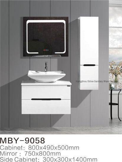 China Modern Bathroom Vanity Sink Basin Cabinet Set Pvc Side Cabinet Smart Led Lighting Mirror China Bathroom Cabinet Pvc Bathroom Cabinet