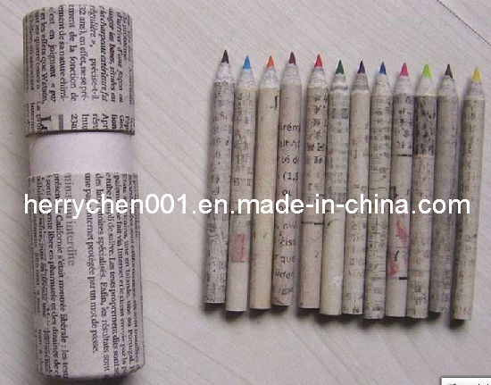 Half Size Recycled Wasted Paper 12 Colours Pencil (SKY-810)