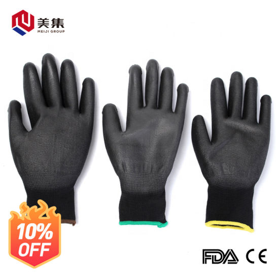 Anti Static 13G Polyester Shell PU Coated Safety Working Gloves with Ce Certification