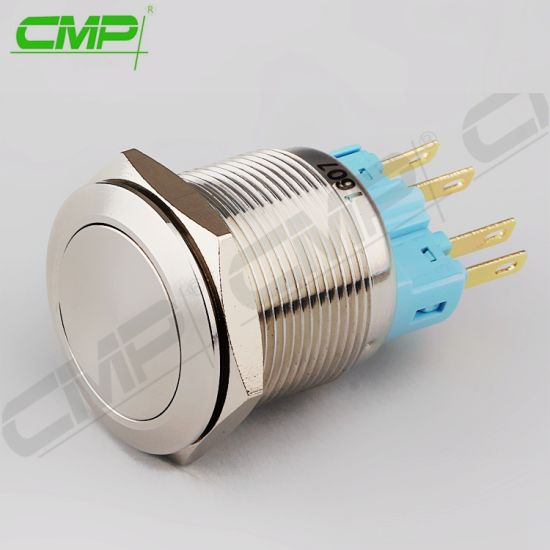 Electrical 1no1nc Latching 22mm Flat Metal Push Button Switches