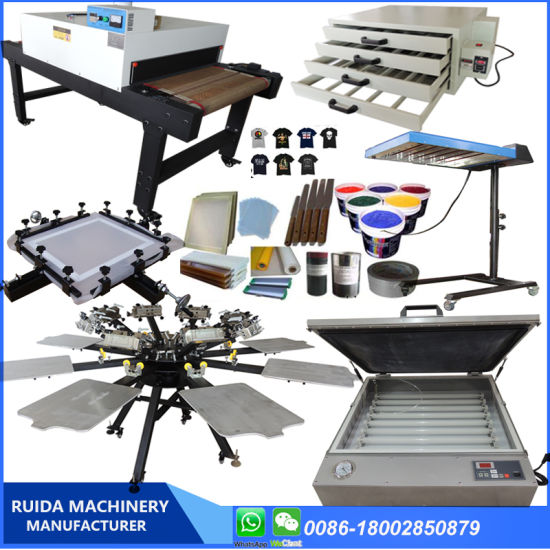 Full Set Very Strong 8 Color Serigraphy Machine with Silk Screen Printing Tools