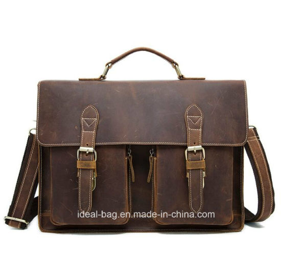 936a11c49ee6 China Brown Crazy Horse Leather Briefcase Laptop Bag