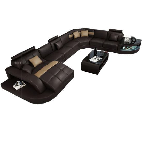 Enjoyable European Home Furniture Leather Upholstery Modern Living Room Leather Led Black Sofa Ibusinesslaw Wood Chair Design Ideas Ibusinesslaworg