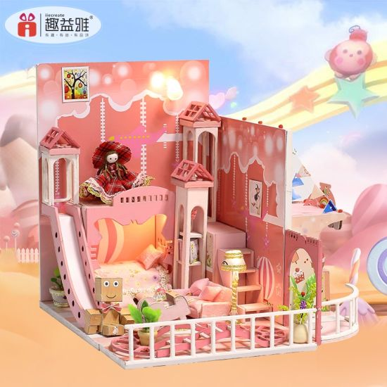 Promotional Puzzle Craft House Gift Wooden Toy Miniature Doll House Kits DIY pictures & photos