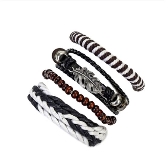Woven Cowhide Set Fashion Bracelet