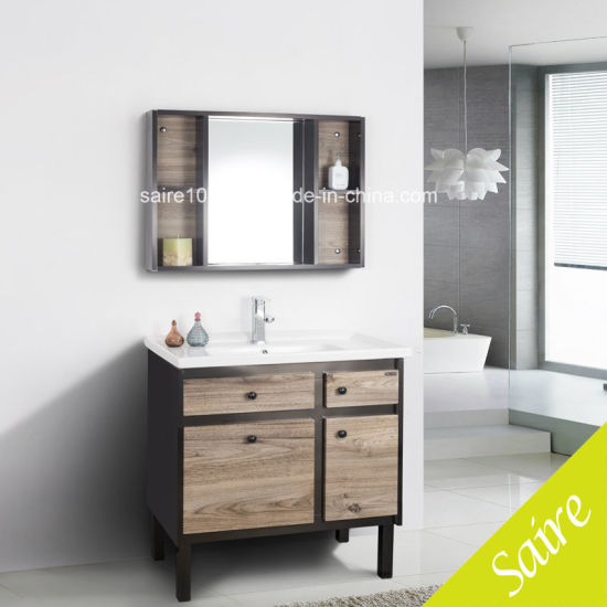 Modern Wood Stainless Steel Bathroom Cabinet With Mirror Cabinet