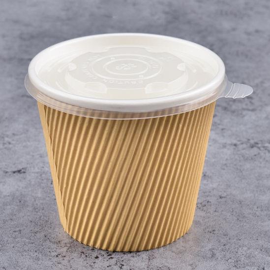15oz 17oz 19oz 26oz PLA Coating Ripple Kraft Paper Soup Cup with PP PLA Paper Lid Cover