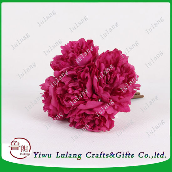 China 5pcs Artificial Flower Wedding Decoration Peony Silk Flower